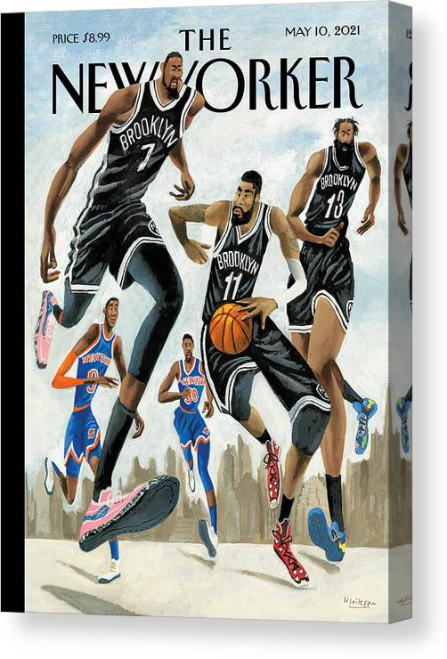 Nyc Canvas Print featuring the painting Hoop Dreams in New York by Mark Ulriksen