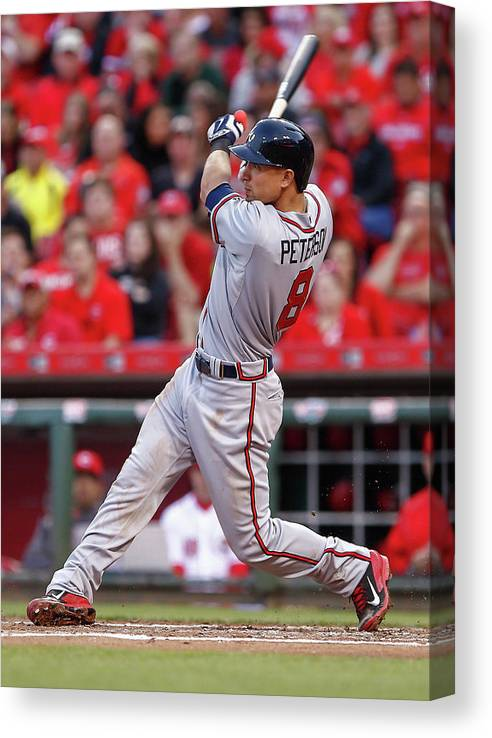 Great American Ball Park Canvas Print featuring the photograph Jace Peterson by Michael Hickey