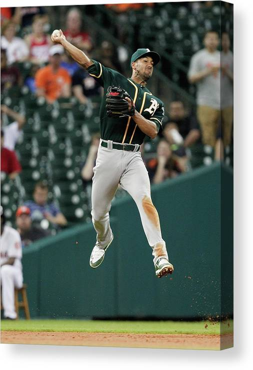 People Canvas Print featuring the photograph Jake Marisnick and Marcus Semien by Bob Levey