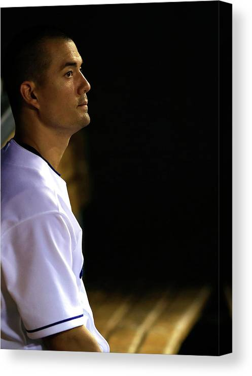 American League Baseball Canvas Print featuring the photograph Jeremy Guthrie by Jamie Squire