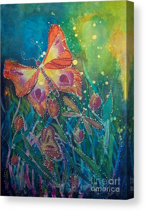 Silk Painting Canvas Print featuring the painting Jeweled Butterfly Fantasy by Francine Dufour Jones