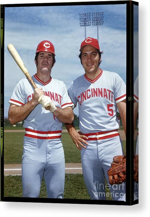 National League Baseball Canvas Print featuring the photograph Johnny Bench and Pete Rose by Louis Requena