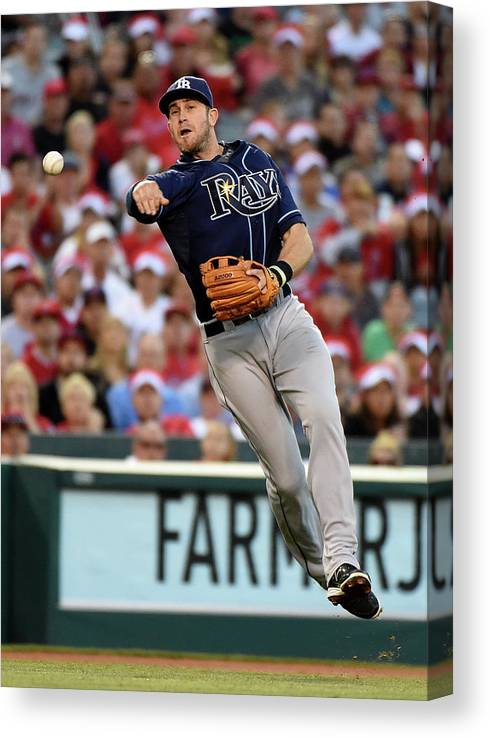 People Canvas Print featuring the photograph Johnny Giavotella And Evan Longoria by Harry How