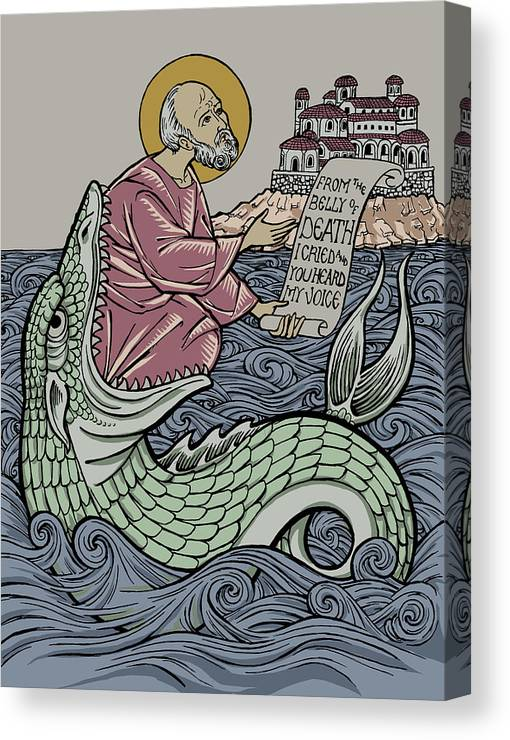 Jonah Canvas Print featuring the drawing Jonah and The Sea Monster by Jonathan Pageau