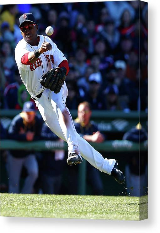 American League Baseball Canvas Print featuring the photograph Jonathan Herrera by Jared Wickerham
