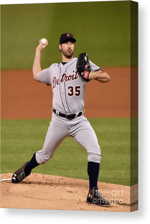 Game Two Canvas Print featuring the photograph Justin Verlander by Hannah Foslien