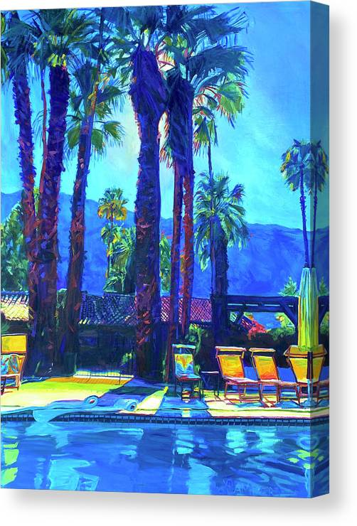 Mountains Canvas Print featuring the painting Lazy Day by the Pool by Bonnie Lambert