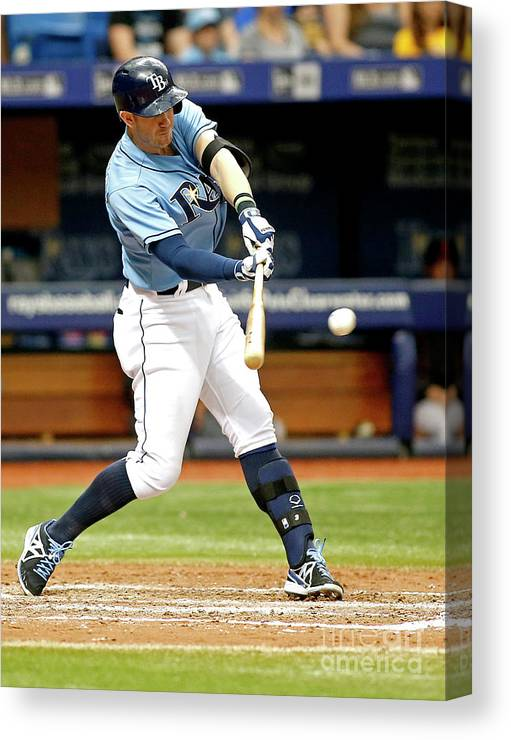 People Canvas Print featuring the photograph Logan Forsythe and Evan Longoria by Brian Blanco