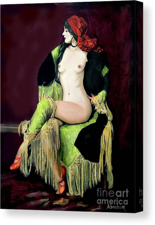 Women Canvas Print featuring the painting Looking Good by Jose Manuel Abraham
