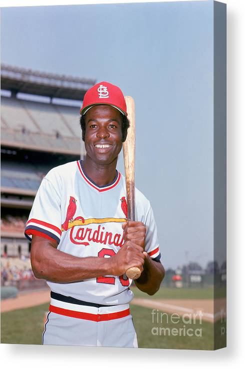 St. Louis Cardinals Canvas Print featuring the photograph Lou Brock by Lou Requena