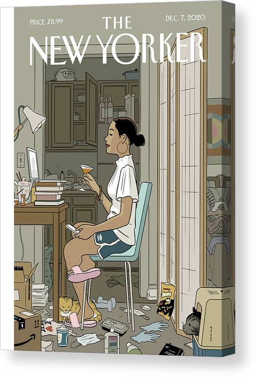 Pandemic Canvas Print featuring the digital art Love Life by Adrian Tomine