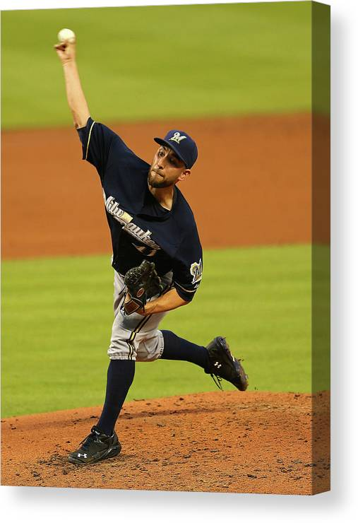American League Baseball Canvas Print featuring the photograph Marco Estrada by Mike Ehrmann
