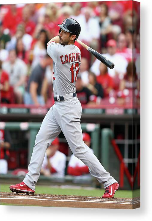 Great American Ball Park Canvas Print featuring the photograph Matt Carpenter by Andy Lyons