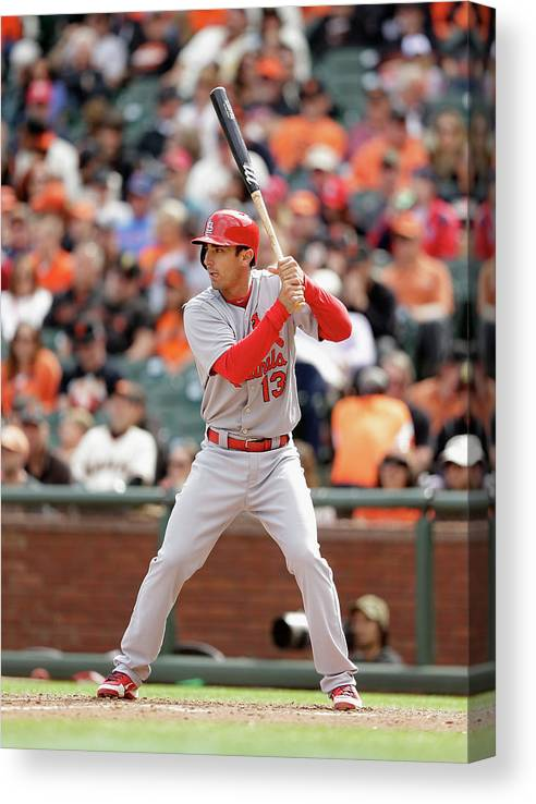 St. Louis Cardinals Canvas Print featuring the photograph Matt Carpenter by Ezra Shaw