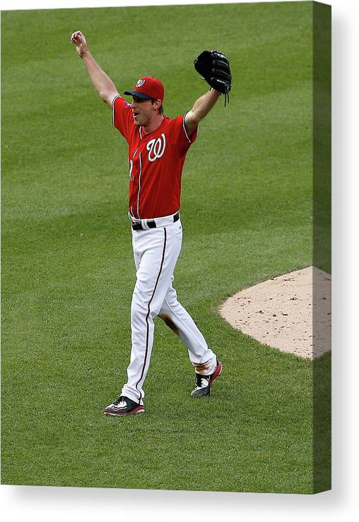 People Canvas Print featuring the photograph Max Scherzer by Rob Carr