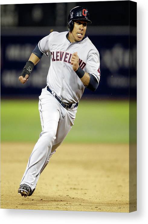American League Baseball Canvas Print featuring the photograph Michael Brantley by Ezra Shaw