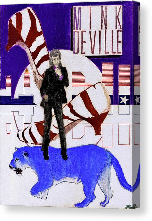 Willy Deville Canvas Print featuring the drawing Mink DeVille - Le Chat Bleu by Sean Connolly