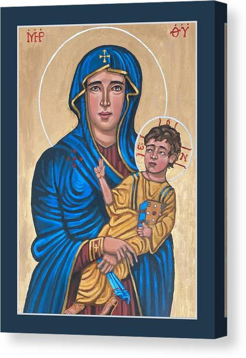 Canvas Print featuring the painting Mother of God Protectress of Health by Kelly Latimore