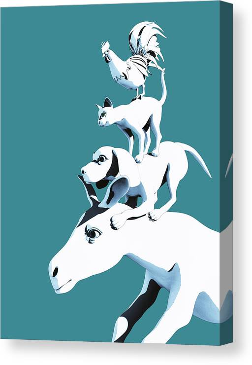 Donkey Canvas Print featuring the digital art Musicians of Bremen_teal by Heike Remy