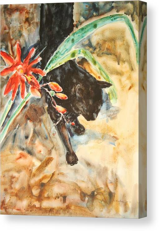 Cat Flower Canvas Print featuring the painting Panther With Passion Flower by Helen Hickey