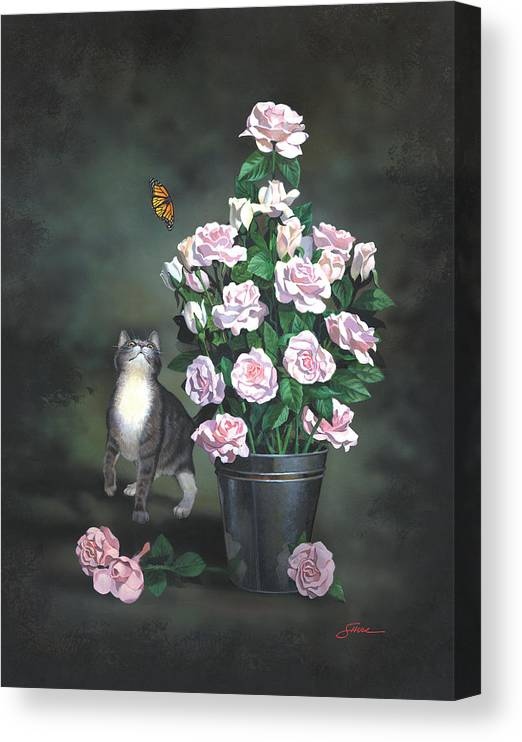 #cat Canvas Print featuring the painting Playing Among The Roses by Harold Shull