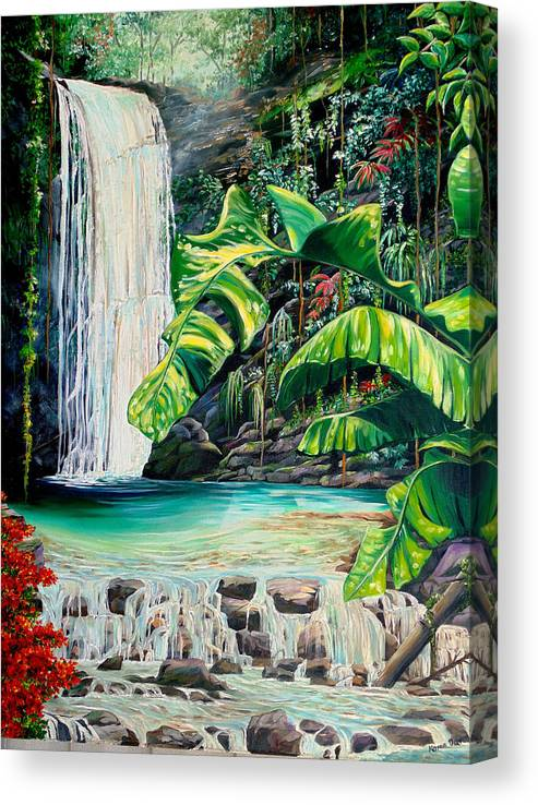 Water Fall Painting Landscape Painting Rain Forest Painting River Painting Caribbean Painting Original Oil Painting Paria Northern Mountains Of Trinidad Painting Tropical Painting Canvas Print featuring the painting Rainforest Falls Trinidad.. by Karin Dawn Kelshall- Best