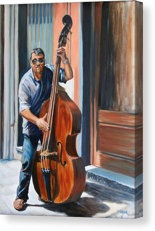 Cello Canvas Print featuring the painting Riviera Rhythms- Cello Street Musician by Jennifer Lycke