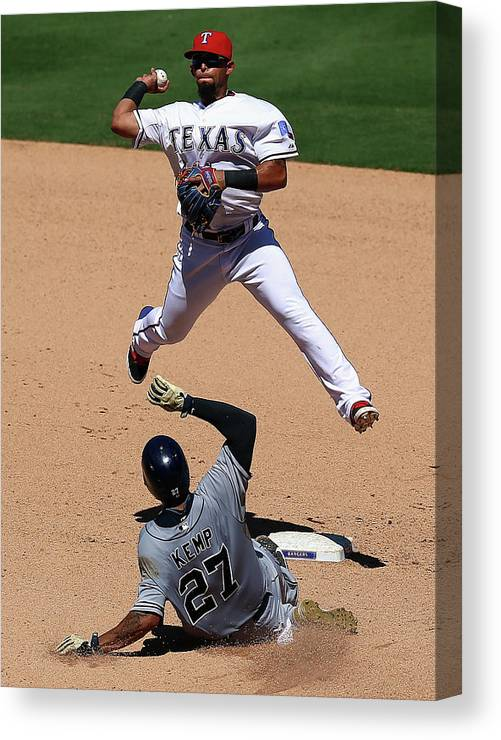 People Canvas Print featuring the photograph Rougned Odor and Matt Kemp by Ronald Martinez