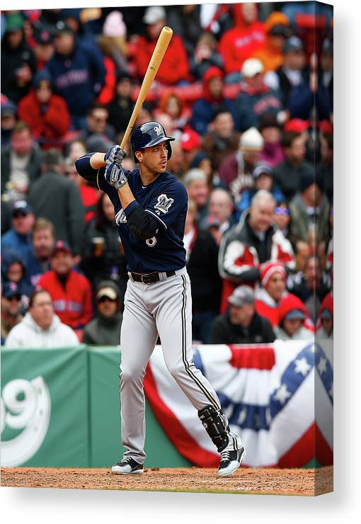 American League Baseball Canvas Print featuring the photograph Ryan Braun by Jared Wickerham