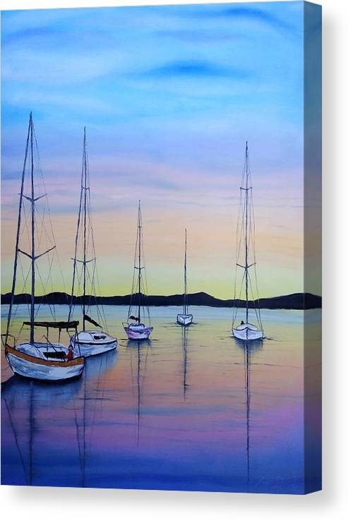 Sailboats Canvas Print featuring the painting Sailboats At Dusk #10 by Dunbar's Local Art Boutique