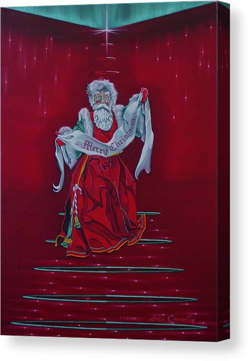 Christmas Canvas Print featuring the painting Santa Claus - Top Of The World by Sean Connolly