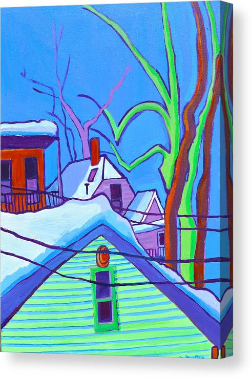 Buildings Canvas Print featuring the painting Sheffield Winter by Debra Bretton Robinson