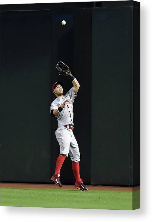 American League Baseball Canvas Print featuring the photograph Skip Schumaker by Norm Hall