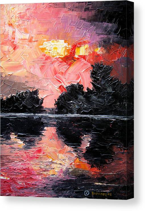 Lake After Storm Canvas Print featuring the painting Sunset. After storm. by Sergey Bezhinets