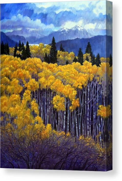 Snow Clouds Over Rocky Mountains Canvas Print featuring the painting Tall Aspens by John Lautermilch