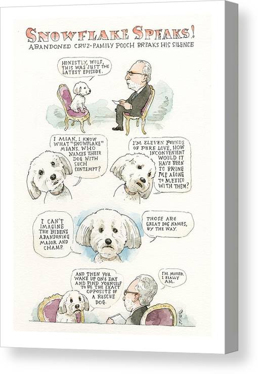 Ted Cruz's Dog Dishes Canvas Print featuring the painting Ted Cruz's Dog Dishes by Barry Blitt