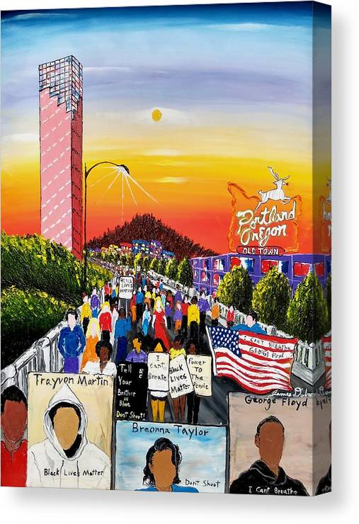 Black Lives Matter Canvas Print featuring the painting The Movement by Dunbar's Local Art Boutique