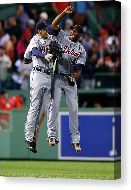 American League Baseball Canvas Print featuring the photograph Torii Hunter and Austin Jackson by Jared Wickerham