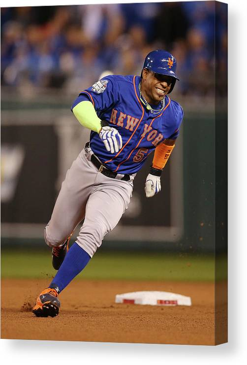 Playoffs Canvas Print featuring the photograph Yoenis Cespedes by Brad Mangin
