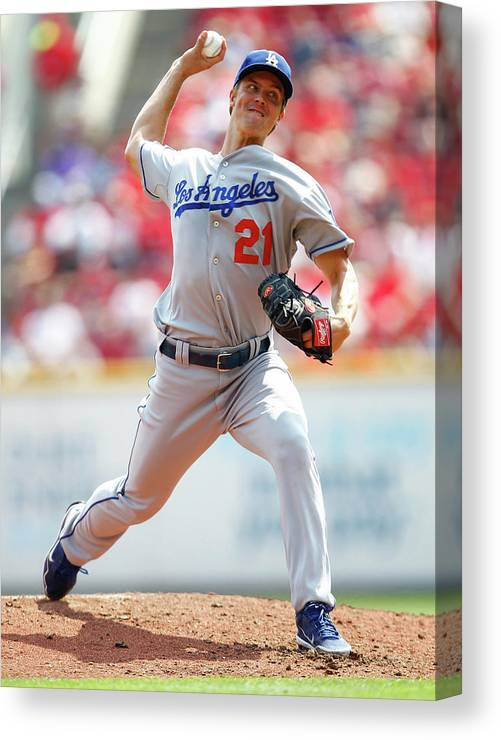 Great American Ball Park Canvas Print featuring the photograph Zack Greinke by Michael Hickey