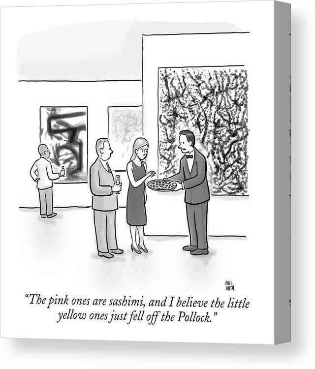 Art Galleries Canvas Print featuring the drawing A Waiter Is Seen Speaking With A Woman In An Art by Paul Noth