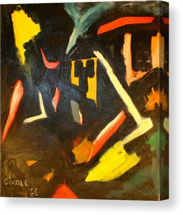 Canvas Print featuring the painting Abstract Houses by Biagio Civale