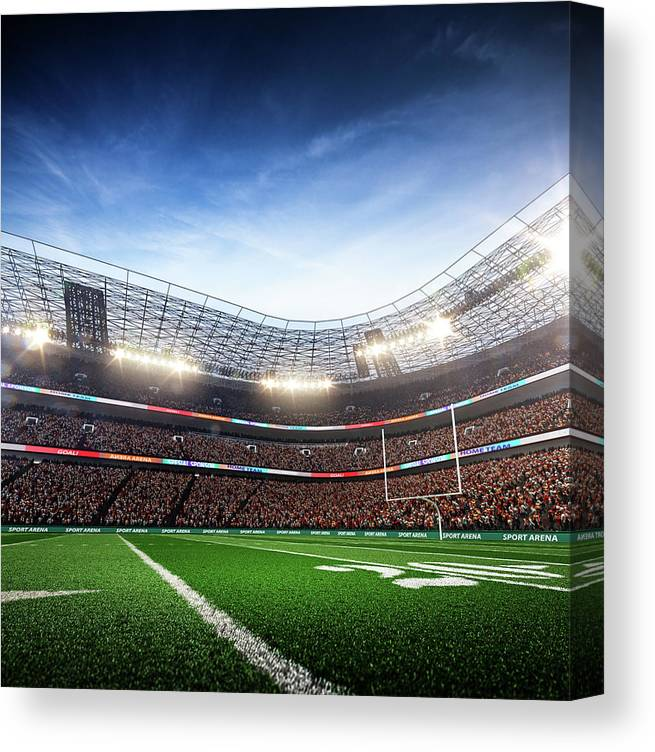 Financial Figures Canvas Print featuring the photograph American Football Stadium Arena Vertical by Sarhange1