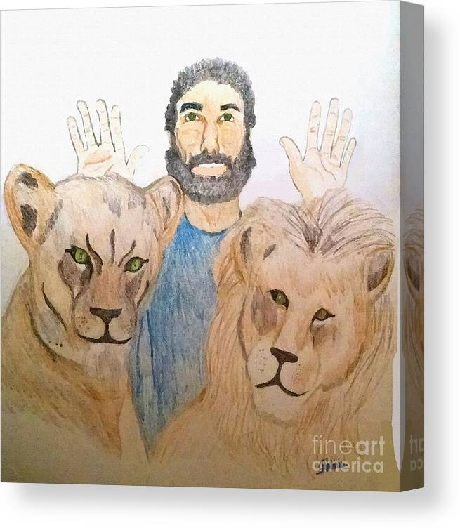 Daniel In The Lions' Den Canvas Print featuring the painting Daniel in the Lions' Den by Pharris Art