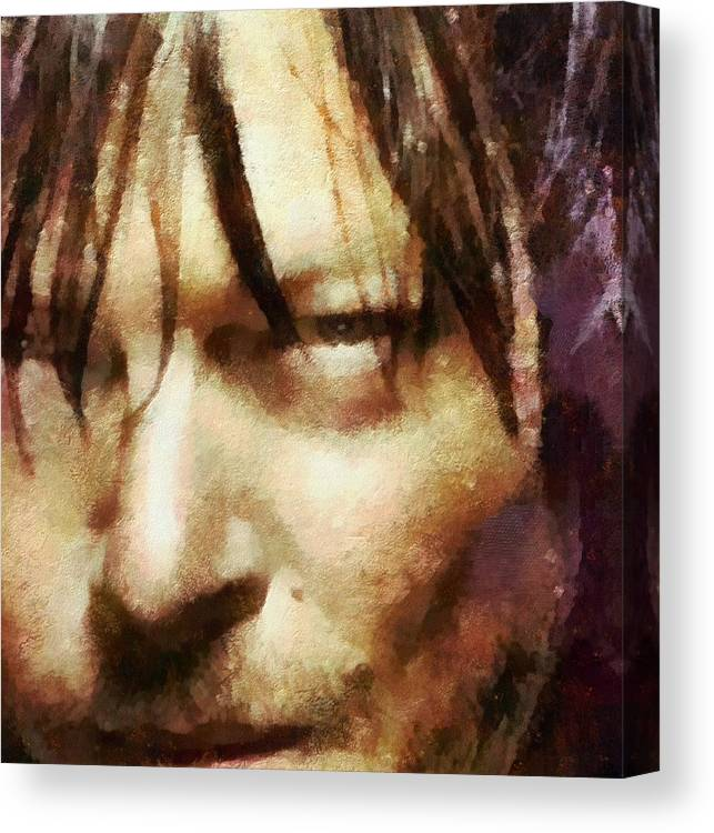 Daryl Dixon Canvas Print featuring the painting Detail Of Daryl Dixon by Janice MacLellan