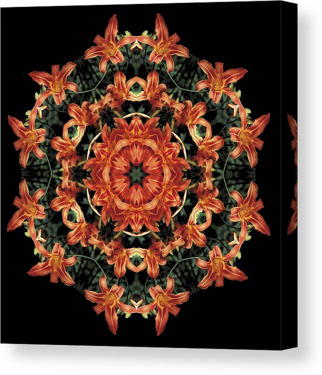 Mandala Canvas Print featuring the photograph Mandala Daylily by Nancy Griswold