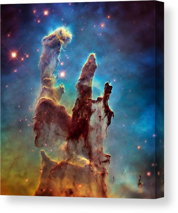 Pillars Of Creation Canvas Print featuring the photograph Pillars of Creation in High Definition - Eagle Nebula by Jennifer Rondinelli Reilly - Fine Art Photography