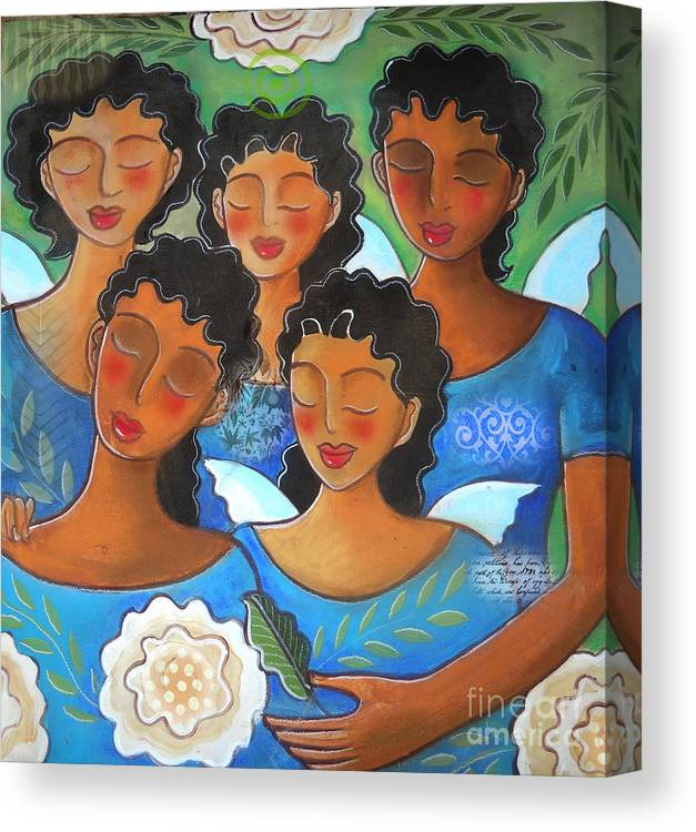 5 Figures Canvas Print featuring the digital art Watched by Angels by Elaine Jackson