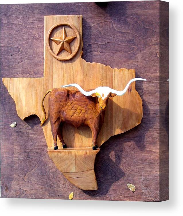 Animals Canvas Print featuring the relief WOODCRAFTED Texas Longhorn by Michael Pasko