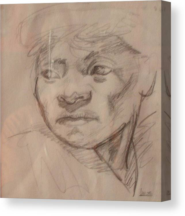 Portrait Canvas Print featuring the drawing Face by Victor Amor
